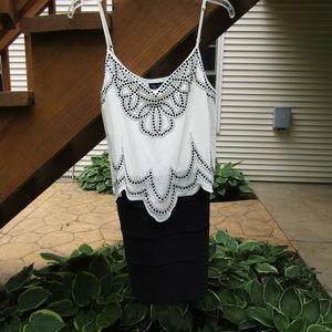 Stunning Black and White Flowy Top Mini Dress